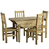 Corona Mexican Pine Dining Table and Chairs Sets (Corona drop leaf dining set and 4 Chairs)