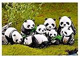 Miniatur Garten Figuren, 8 Stück Gartendeko Niedliche Tier Panda Mini Ornamente Set für Fee Garten Deko Bonsai Puppenhaus Sukkulenten Tischdeko Haus Dekoration Micro Landschaft DIY Zubehör Verzierung