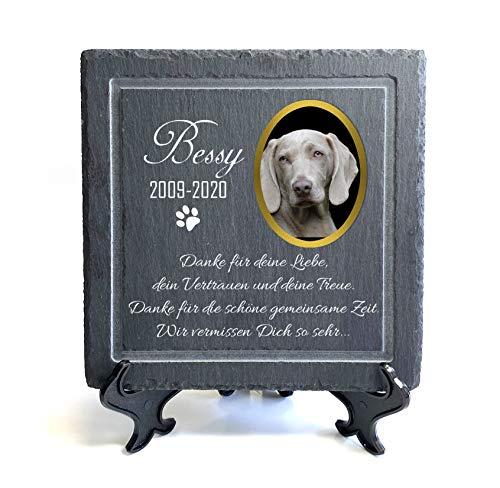 TULLUN Individueller Personalisiert Tiergrabstein Schiefer Gedenkstein für Hund, Katze und andere Haustiere - Größe 20 x 20 cm - Text und Foto