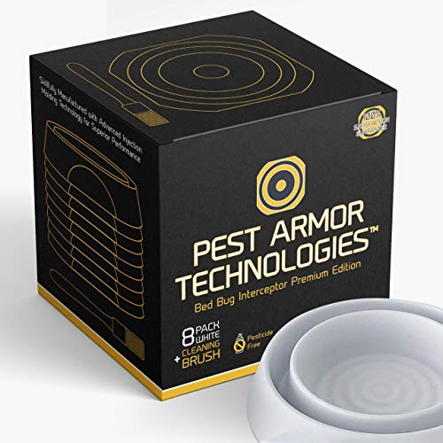 Pest Armor Technologies Bed Bug Interceptors  8 Pack White | Premium Edition | Bed Bug Trap | Eco Friendly Bed Bug Traps and Detectors for Bed Legs | Indoor