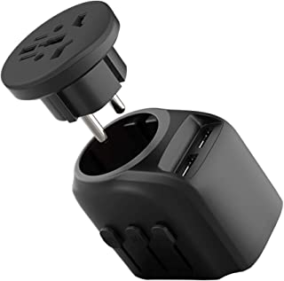 Jollyfit International Universal Travel Adapter 2 USB Charger AC Power Wall Plug US UK AU EU Worldwide 150 Countries with Safe Fuse for Europe Asia Germany France Italy India China Russia American British European Adapter (Black High Power)