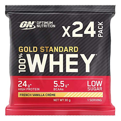 Optimum Nutrition Gold Standard Whey Protein Powder Muscle Building Supplements with Naturally-Occurring Glutamine and Amino Acids, French Vanilla Crème, Pack of 24, 24 x 30 g, Packaging May Vary