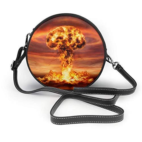 Explosion-Mushroom Cloud Moda para mujer Bolso bandolera redondo Bolso pequeño Cartera Bolso escolar