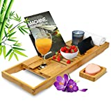 Chapter92 Bamboo Extendable Bath Tray, Bath Caddy with Glass, Tablet and Ipad Holder, Luxury Bath Trays for Home Spa, Bath Rack Fits More Bathtub Sizes with Soap Holder. Jacuzzi Wooden Bath Tray