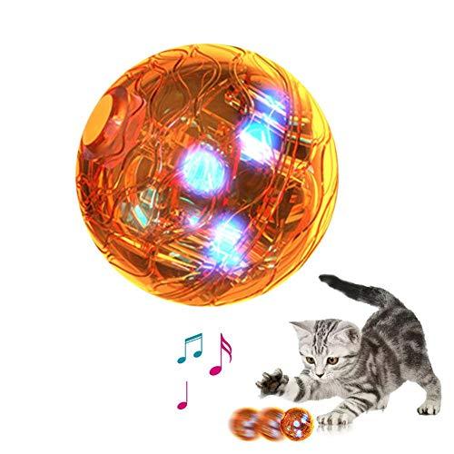 precauti Bola de rodamiento LED para mascotas, juguete para gatos, bolas interactivas automáticas y automáticas con rotación automática para cachorros