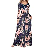 HOOYON Women's Casual Floral Printed Long Maxi Dress with Pockets(S-5XL),Royal Blue,XX-Large