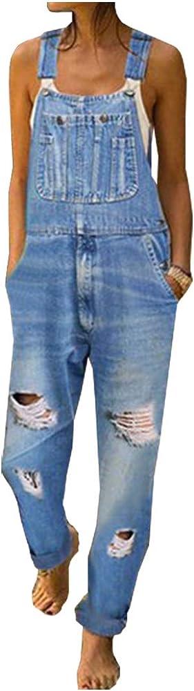 Ladyful Max 52% OFF Women's Classic store Ripped Bib Jean Jump Denim Pant Overalls