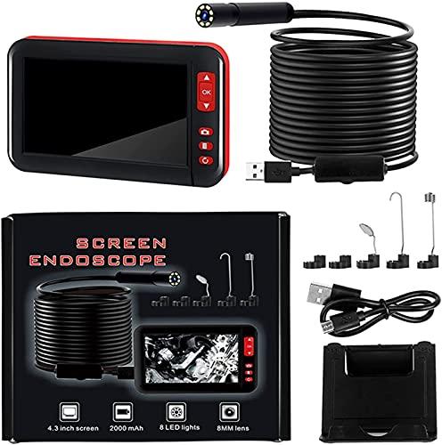 X&Z-XAOY Cámara De Endoscopio,1080P HD Boroscopio De 4.3 Pulgadas LCD Cámara De Inspección De Pantalla IP67 Endoscopio Industrial Impermeable con 8 Regulables Leds (Size : 2m)