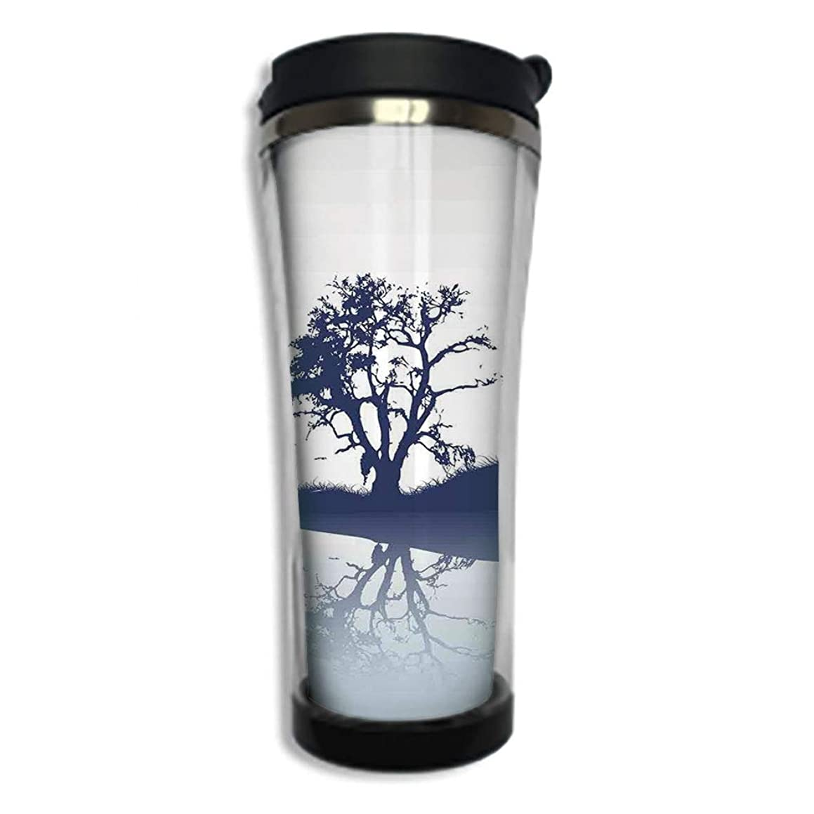 Travel Coffee Mug 3D Printed Portable Vacuum Cup,Insulated Tea Cup Water Bottle Tumblers for Drinking with Lid 14.2oz(420 ml)by,Nature,Silhouette of Lonely Tree by Lake with Mirror Effects Melancholy