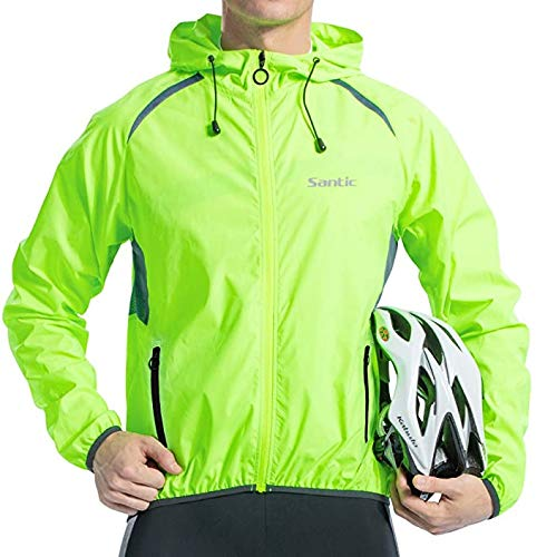Santic Men's Cycling Jacket Windproof Long Sleeve Wind Jacket Bicycle Coat Hooded Jackets Skin Coat Green