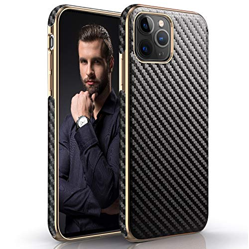 LOHASIC iPhone 11 Pro Max Case 6.5 inch, Slim Leather Luxury Business Cover Soft Hybrid Bumper Non-Slip Grip Shockproof Full Body Protective Cases for Apple iPhone 11 Pro Max (2019) - Carbon Fiber