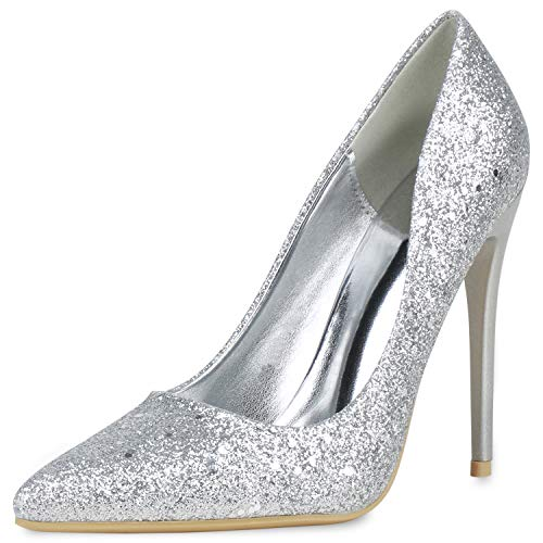 SCARPE VITA Damen Spitze Pumps High Heels Absatzschuhe Glitzer Schuhe Stiletto Elegante Party Abendschuhe Metallic 190854 Silber Lack 40