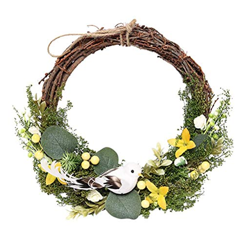 EMUKOEP Easter blossom wreath, Easter wreath, decorative Easter wreaths with colourful Easter eggs, beautiful Easter arrangement door wreaths, Easter decoration wreaths, door wreath decoration