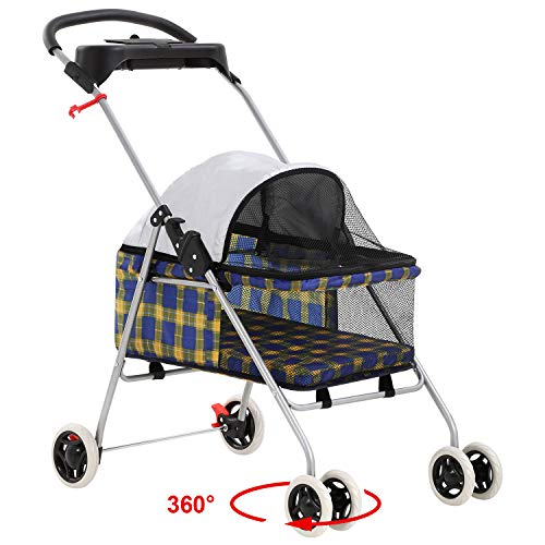 Pet Stroller 4 Wheels Posh Folding Waterproof Portable Travel Cat Dog Stroller with Cup Holder (Yellow Plaid)