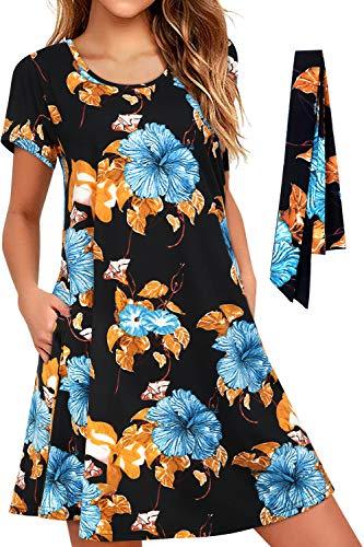 Enmain Abito Floreale Estivo Casual da Donna con Tasche Abiti Larghi e Comodi da Spiaggia Hawaii Arancione con Abito da Carnevale Cintura