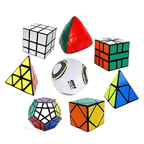 EasyGame 8 embalados Irregular Cubo mágico Cubo Cubo de Velocidad: Cuadrado-Espejo-Skewb-Megaminx-Pyraminx-Pyramorphix-Magic Cubo de la Bola Brain Teaser