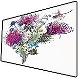 Tappetino per mouse da gioco [600x300 x 3 mm],Libellula, estate prato naturale erbe Bouquet cardi selvatici camomille acquerello Boho arte, multic Base antiscivolo 45x45cm