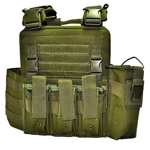 Tewerfitisme CS Field - Chaleco táctico ajustable con luz, chaleco táctico militar, entrenamiento de combate, paintball, combate, asalto, Unisex adulto, BE161518E8ZPL, OD., 46 x 35 x 6cm