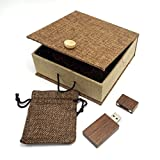 LONMAX Walnut Wood USB Flash Drives 16GB with Cloth Gift Box USB Flash Disk for Gift (16GB, Walnut+Linen)