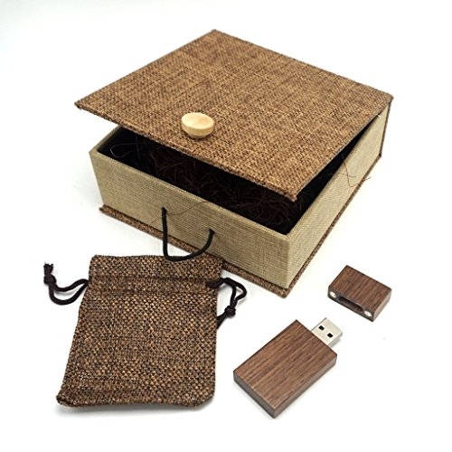 LONMAX Walnut Wood USB Flash Drives 16GB with Cloth Gift Box USB Flash Disk for Gift (16GB, Walnut+Linen)