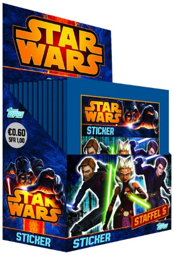 Topps TO06020 - Star Wars - Clone Wars Sammelsticker, 50 Booster, 5 Sticker