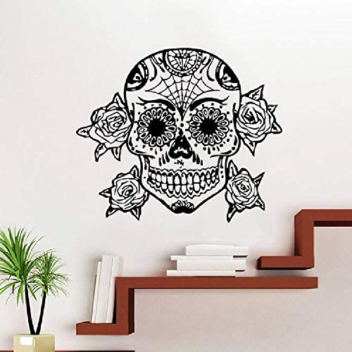 JXFM Tattoo Gesicht Make-up Muster Damast Salon Vinyl Wandbild Künstler Home Room Decoration Wandbild Mode Zucker Schädel Tapete