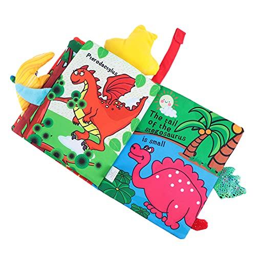 STOBOK Libros de tela para bebés Touch and Feel Crinkle Libros con dinosaurio Animal Ocean World Tail Educación temprana Desarrollo Interactivo Juguetes para bebés Niñas Niños Niños Niños Niños