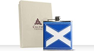 Glencairn Celtic Gifts Saltire Hip Flask Stainless Steel with Leather Finish 6oz / 177ml  Flag of Scotland   Gift Boxed