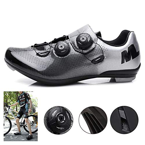 Multifunctional Bike Shoes Wear-Resistant Mesh with Lock Nylon Sole Mirror Breathable Upper Strong Waterproof Performance Suitable for Outdoor Riding,40