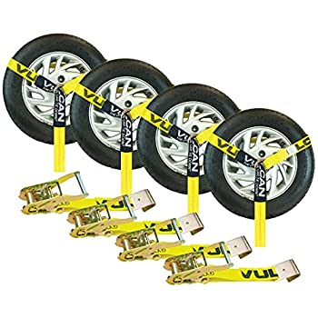 VULCAN Car Tie Down - Flat Hooks - Lasso Style - 2 Inch x 96 Inch 4 Pack - Classic Yellow - 3,300 Pound Safe Working Load
