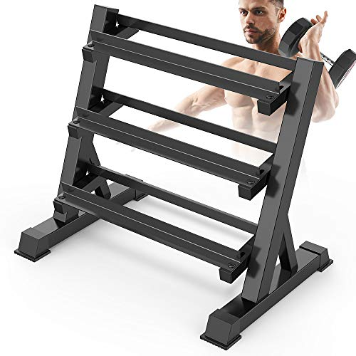 Dripex 3 Tier Heavy Duty Dumbbell Rack Home Gym Weight Rack Dumbbell Storage Stand Holder, Latest Model(Rack Only)