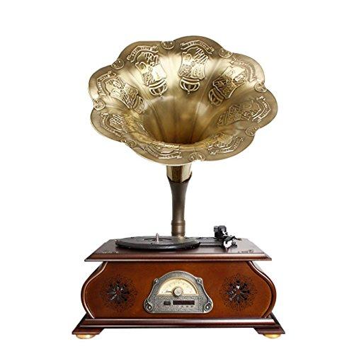 MUSIC Reproductor de Discos de Vinilo, Tocadiscos de fonógrafo/Gramófono Power UK- Tocadiscos Antiguos Tocadiscos Cobre Antiguo Gramófono Cuerno Grande Retro Bluetooth Stereo