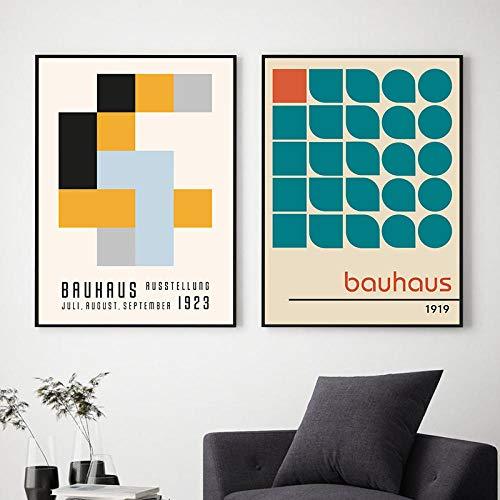 VVSUN Bauhaus Museum Ausstellung Plakate und Drucke Galerie Wandkunst Bilder Kunst Leinwand Malerei für Wohnzimmer Dekor 50X70cm 20x28inchx2 Kein Rahmen