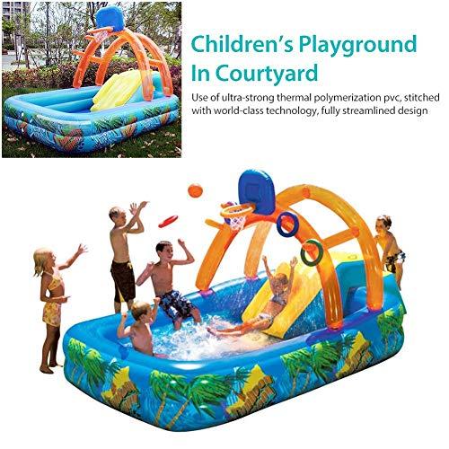 Kinderpool Rutsche Garten Kinder Planschbecken,Aufblasbarer Pool Kinderbasketball Mit Basketballkorb Wasserrutsche - Für Kinder