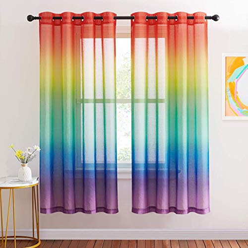NICETOWN Rainbow Ombre Sheer Curtains for Bedroom Girls Room Decor 2 Tone Ombre Pattern Window Semi Short Sheer Curtains for Girly Nursery Kids Daughter Room (55 x 72 Inch Length, Set of 2)