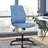 Office Desk Chair (2021 New) Armless Computer with Wheels Studio Mid Back Ergonomic Mesh Task Rolling Spinning Swivel Adjustable Desktop Conference No Arms Lumbar Support for Small Spaces Blue