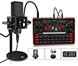 Podcast Microphone Sound Card Kit, Studio Condenser Mic & G3 Live Sound Mixer/Voice Changer/Audio Interface/Audio Mixer Equipment for Streaming/Gaming/Recording/Singing/Tiktok/YouTube