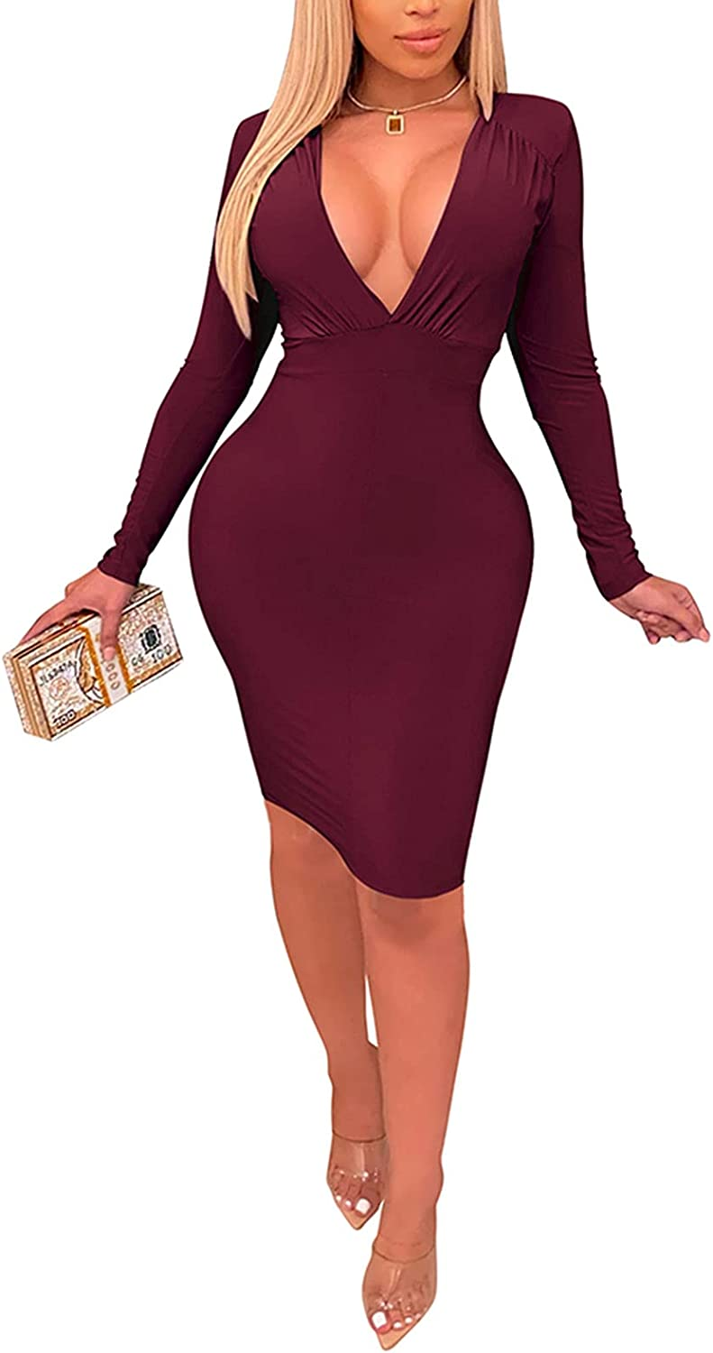 ThusFar Women's Sexy Bodycon Deep V-Neck Cocktail Party Dresses Long Sleeve Ruched Mini Club Night Dress