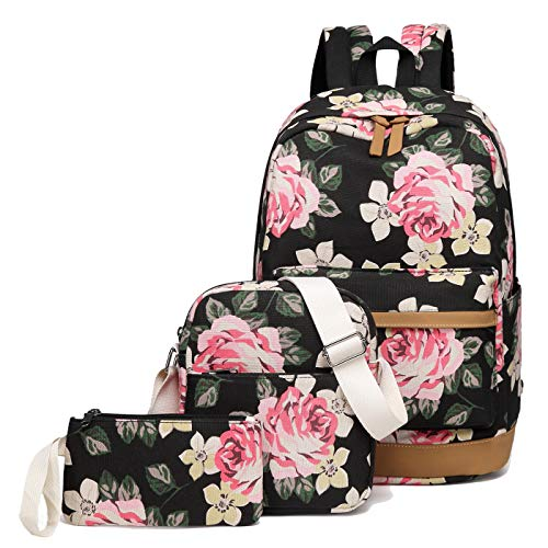 School Backpacks for Teen Girls Lightweight Canvas Backpack Bookbags Set (Black- Flower)