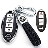 121Fruit Way for Nissan Key Fob Cover,Key Fob Case for Nissan Altima Maxima Murano Rogue Sentra 370z Pathfinder Smart Remote Premium Soft TPU Nissan Key Cover 4 Button(Silver)…