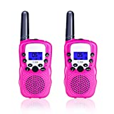 TX Walkie Talkies for Kids 2 Pack, Toys for Kids 22 Channels Long Distance Up to 2 Mile Range with Flashlight Outdoor Camping & Hiking Best Christmas Birthday Gift for Kids-1 Pair Pink