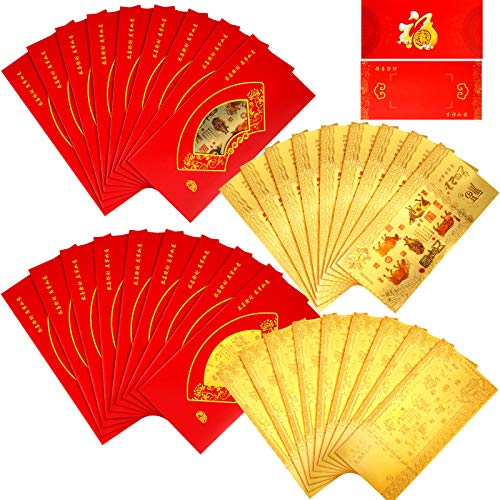 72 Pieces 2021 Chinese Zodiac OX New Year Gold Foil Note with Hong Bao Red Money Envelopes OX Lucky Money Packets for New Year, 18 Sets Totally