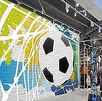 壁紙 壁紙の手描きカップサッカー壁画ファッションバーレストランの背景の壁壁画寝室壁紙-3D_430x300cm