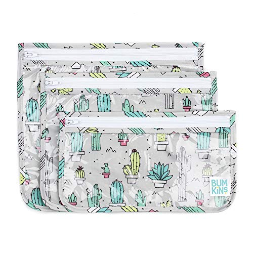 Bumkins TSA Approved Toiletry Bag, Travel Bag, Quart Zip Pouch, PVC-Free, Vinyl-Free, Clear Sided, Set of 3 – Cactus
