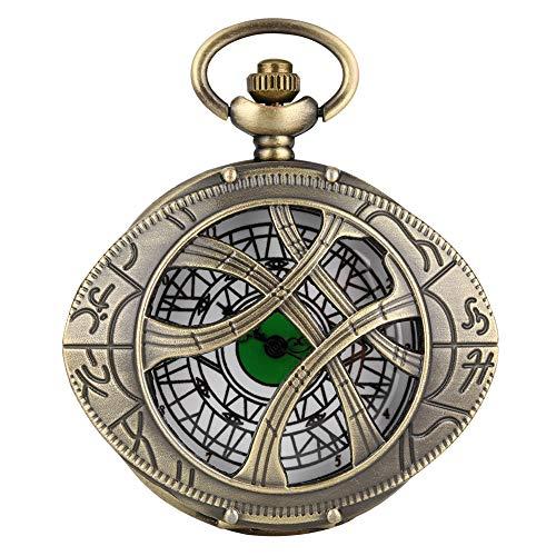 Reloj de bolsillo de cuarzo vintage para hombre, único ojo de Agamotto redondo caja de reloj de bolsillo para niño, esfera grande blanca reloj colgante para hombre