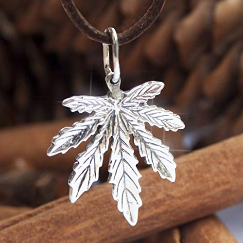 925 Sterling Silver Marijuana Pot Leaf Necklace Weed Cannabis Plant Herb Ganja Pendant Choker Charm Rasta Hippie Hip Hop Jewelry Cute Gifts for Men Women/Handmade + Free Cord