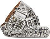 styleBREAKER cinturón de remaches elegante en diseño vintage, remaches y estrás, reducible, señora 03010052, tamaño:95cm, color:Plata antigua
