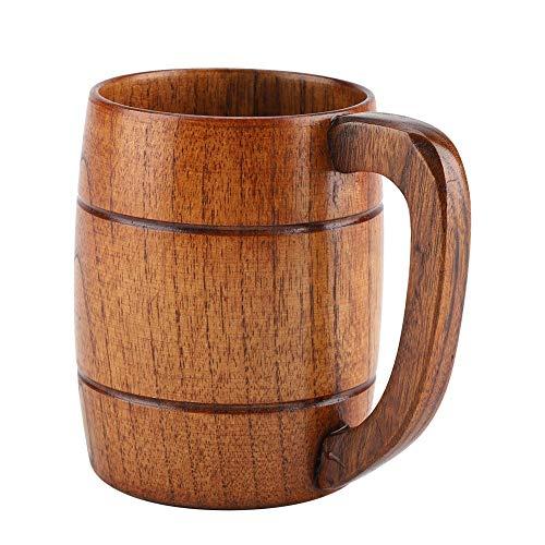 Fdit Holz bierkrug, Biergläser, Holzbierschale Retro Bier Geschenk Teewasser Classic Holztrinkbecher mit Henkel Holzkrug Hochzeitsgeschenk Bierkrug