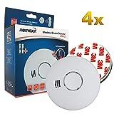 4X Nemaxx HW-2 Detector de Humo y de Calor - Detector de Incendios - Detector de Humo conectable en Red con Sensor térmico Conforme la Norma DIN EN 14604 + 4X fijación magnética