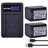 Batmax 2Packs NP-FH70 Battery(3000mAh) + LCD USB Charger for Sony NP-FH7 NP-FH90,NP-FH100 Batteries;Sony Handy Cam DCR-DVD850 SX40 SX41 SX60 HDR-CX100 TG5 CX500